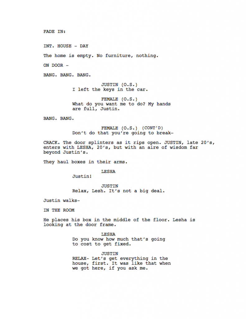 writing a script through character action  film club of